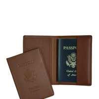 Royce Leather Leather Passport Cover - Cream/Tan