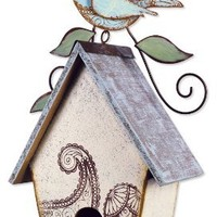 Sunset Vista Designs Garden Essentials Paisley Blue Bird Birdhouse, 14-Inch Tall