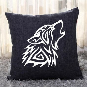 Tribal Wolf Roaring, Tribal Style Throw Pillow Cover