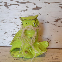 Lime Green Owl up cycled distressed mantle decor bright housewares owl decor