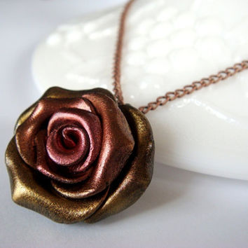 Rose Necklace  Metallic Red Copper and Gold Polymer by JustClayin