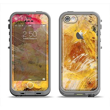 The Grungy Golden Paint Apple iPhone 5c LifeProof Fre Case Skin Set