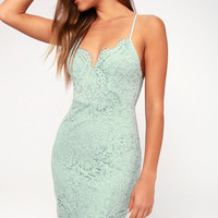 Flirting with Desire Mint Blue Lace Bodycon Dress