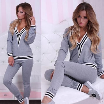 Women's Long Sleeve Deep V-Neck Sweater Hoodies Suit = 1931909892