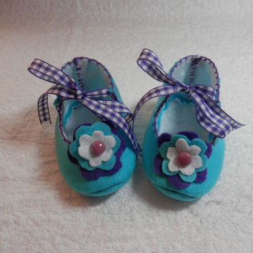 BABY BOOTIES FELT Childrens Babies Girls Shoes Slippers Teal Blue Purple Ribbon Ties Felt Flowers
