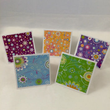 Glittery spring flowers greeting card set (10)