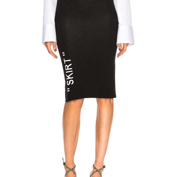 OFF-WHITE Longuette Knit Skirt in Black & White | FWRD