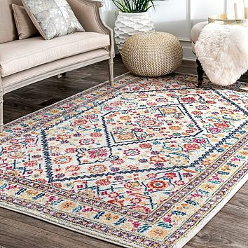 20030 Multi Color Distressed Persian Medallion Oriental Area Rugs