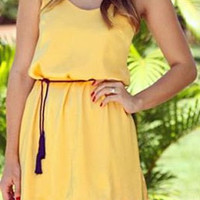 Yellow Sleeveless Drawstring Floral Lace Dress