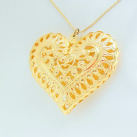 Gold Heart Necklace Marked West Germany Puffy Filigree