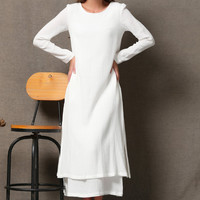 Elegant White Linen Dress C554