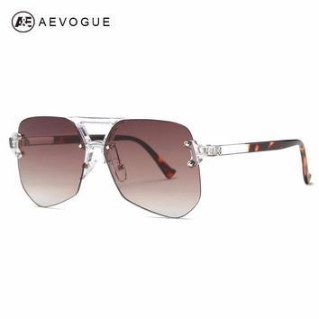 AEVOGUE Sunglasses For Women Newest Rimless Frame Double Nose Bridge Ultra-light Brand Designer Shades Sun Glasses AE0538