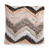 Pink Natural Chevron Stripe Fur Throw Pillow
