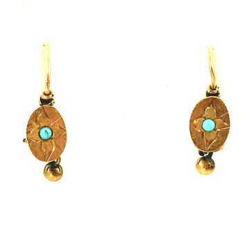 Antique Earrings 10K Gold Turquoise Victorian Pierced