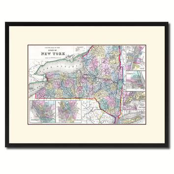 New York Vintage Antique Map Wall Art Home Decor Gift Ideas Canvas Print Custom Picture Frame