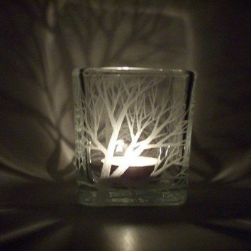 Glass Cube Hand Engraved With 'Reaching by daydreemdesigns on Etsy