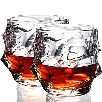 Crystal Whiskey Glasses 11oz Old Fashioned Glasses Set of 2 Scotch Glasses Liquor Tumblers  UltraClarity Glassware Everest Shape Glass Drinkware Unique Elegant Design Dishwasher Safe