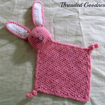 Bunny lovey, crocheted lovey, crocheted bunny, pink bunny lovey, pink lovey, babyshower gift, new baby gift, girl baby gift, snuggle blanket