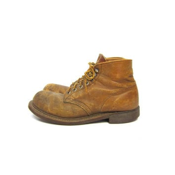 Vintage Red Wing Work Boots Leather Red Wings Distressed Lace Up Ankle Boots Farmer Gardener Steal Toe Heavy Duty Mens 6 D Womens 7.5 - 8