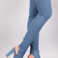Bamboo Fitted Denim Chunky Heeled Over-The-Knee Boots