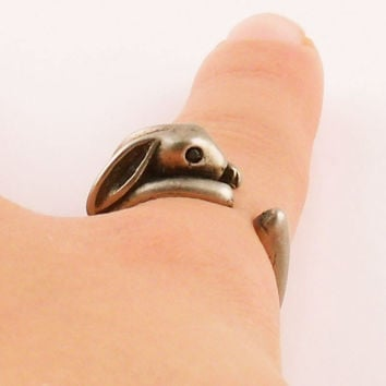 Animal Wrap Ring - Bunny - White Bronze - Adjustable Ring - keja jewelry