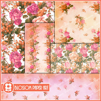 Floral Collage Sheet - Pink and Red Roses - Digital Scrapbooking Pack - Decoupage - Digital Paper - Printable - DIY - 1626