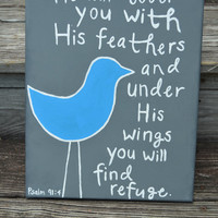 Canvas Painting - Psalm 91:4 - Bird