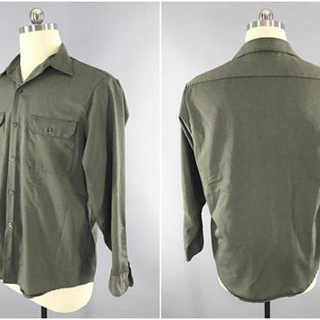 1960s Vintage / Sears Roebuck & Co. / Perma Prest / Green Work Shirt / Dress Shirt / WW2 M37 GI Style / Size L / 42-44 / Button Up / Preppy