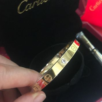 One-nice? @Authentic Cartier 18K Love Yellow Gold Bracelet 4 Daimonds Size 19@##