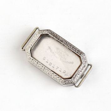 Antique Art Deco 14k White Gold Filled Watch Case - Vintage 1920s Etched Floral Bulova Bracelet Jewelry Accessory