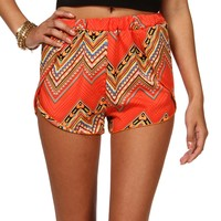 Sale-orange Tribal Printed Chevron Shorts