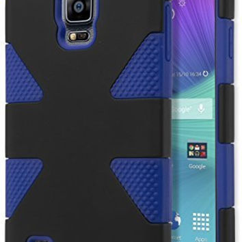 Samsung Galaxy Note 4, Hybrid Blue  Silicone with Black  Shell Case