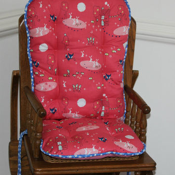 Pink Enchant Fox High Chair Cushions, High Chair Pads, High Chair Cover, Highchair Pads, Wooden Highchair Pads
