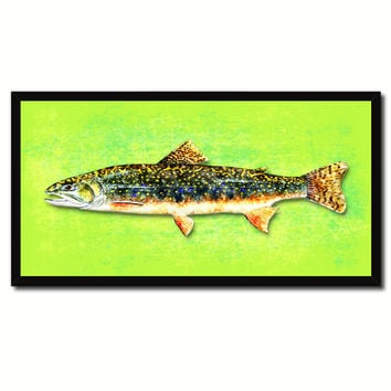 Brook Trout Fish Art Green Canvas Print Picture Frames Home Decor Nautical Fisherman Gifts