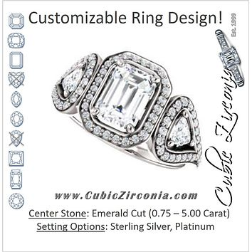 Cubic Zirconia Engagement Ring- The Cordelia (Customizable Cathedral-set Emerald Cut Design with 2 Trillion Cut Accents, Halo and Split-Pavé Band)