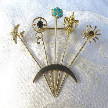 Vintage Stick pin Brooch, Unsigned Goldette, Stickpin Pin,  Four Stick pins, Fleur de Lis, Bird, Sun, Vintage Jewelry