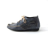 Vintage leather Moccasins. Lace up nubuck oxfords. Preppy boat chukka shoes.