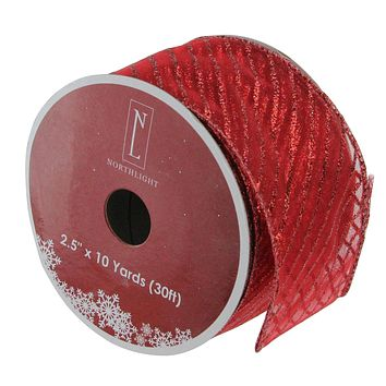 "Bright Red and Glittering Gold Reindeer Wired Christmas Craft Ribbon 2.5"" x 10 Yards"