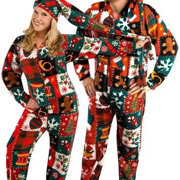 Ugly Christmas Sweater Fleece Drop Seat Footed Pajamas with Long Night Cap