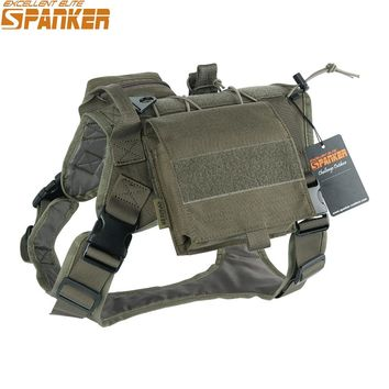 EXCELLENT ELITE SPANKER Tactical Battle Dog Clothes Suit Military Outdoor Training Molle Vest Harness Pets Hunting Accessories