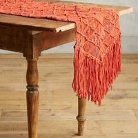 Fringed Macrame Runner by Anthropologie in Terracotta Size: One Size Kitchen
