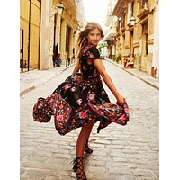 Summer Boho Dress Ethnic Sexy Print Retro Hippie