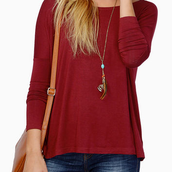 Wine Red Long Sleeve T-Shirt