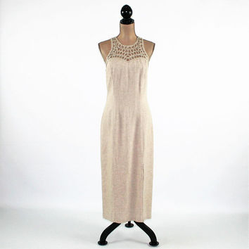 90s Beige Linen Dress Large Sexy Maxi Dress Sleeveless Summer Dresses for Women Long Dress Fitted Dress Vintage Clothing Womens Clothing