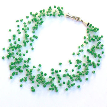 Green Necklace. Wedding Necklace. Bridesmaid Necklace. Beadwork.  Multistrand Necklace.