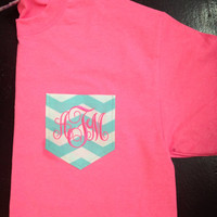 Monogrammed tee shirt, chevron pocket tee shirt, monogrammed pocket thirst