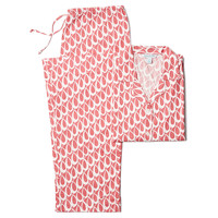 Lucy Long Sleeve Pajamas, Coral/Cream, Pajamas