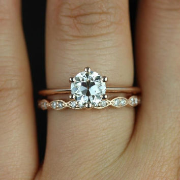 Skinny Webster & Christie 14kt Rose Gold OEC FB Moissanite Six-Prong Webbed Wedding Set (Other metals and stone options available)