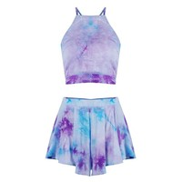 Mink Gal Women Halter Tie Dyed 2 Piece Amethyst Backless Crop Top Shorts