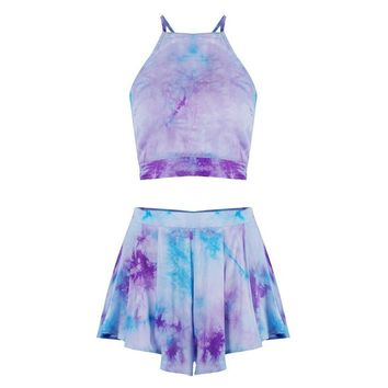Wink Gal Women Halter Tie Dyed 2 Piece Amethyst Backless Crop Top Shorts